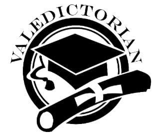 Valedictoran, graduation cap & diploma