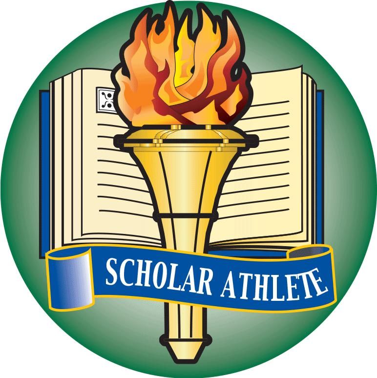 Book, torch, Scholar Athlete banner