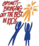 2 children reaching for the sun and phrase ''Optimist-Bring Out the Best in Kids''