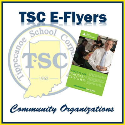 Image with white backgroud and TSC logo in foreground with a green pamphet with ''Community Organizations'' written in cursive in blue underneath