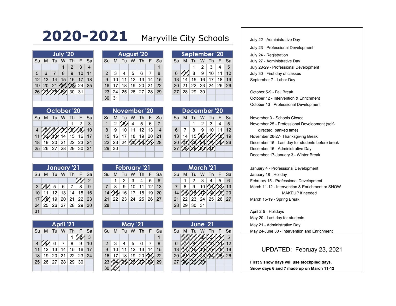 Calendar 2020-21 2020 21 Calendar (print ready)   Maryville City Schools