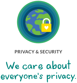Globe and a lock. Privacy & Security. We care about everyone's privacy.