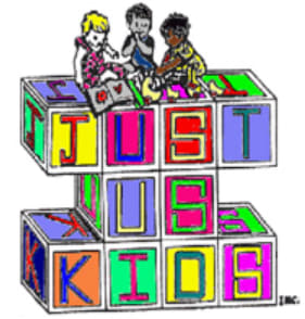 Just Us Kids Graphic that has three cartoon students sittig atop blocks with letters spelling ''Just Us Kids''