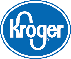 White background with a blue oval with ''Kroger'' spelled in white letters - official Kroger grocery department logo