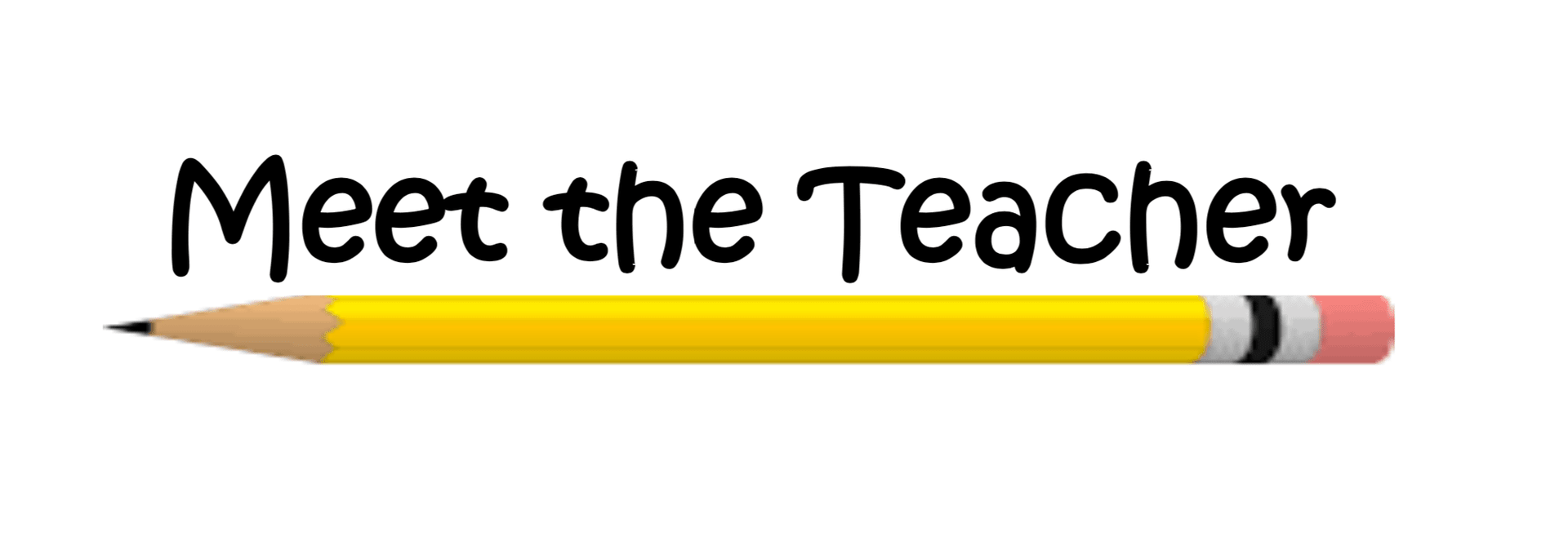 Image of Meet the teacher with a graphic of a pencil