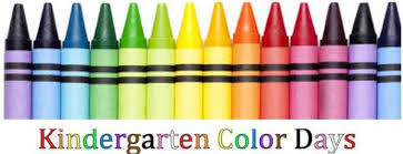 Image of crayons with kindergarten color days spelled out underneath