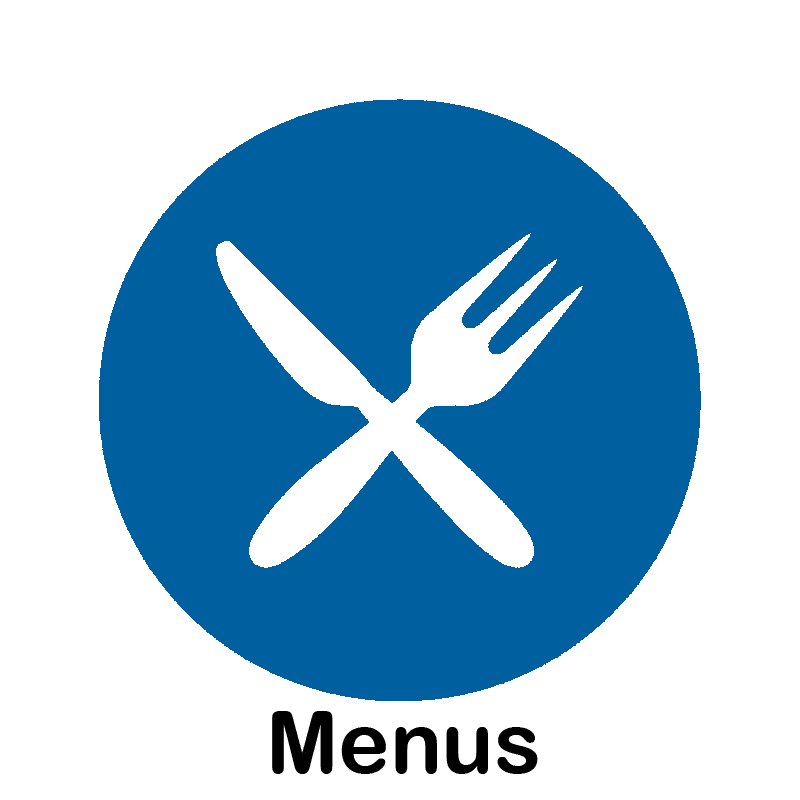Blue Circle with white image of crossed fork and knife inside. ''Menus'' written in black underneath