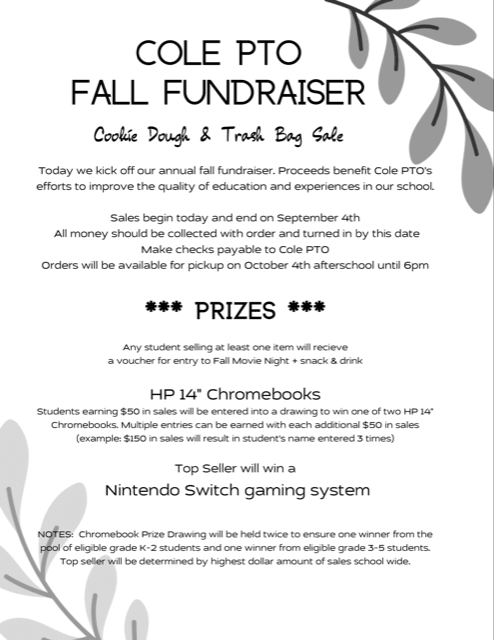Flyer for Cole PTO Fall Cookie Dough and Trash Bag Fundraiser