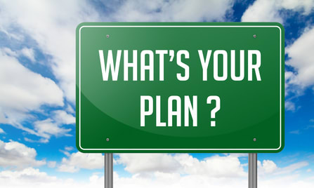 Cloudy sky background of blue and white with a green road sign with white letters reading ''What's Your Plan?''