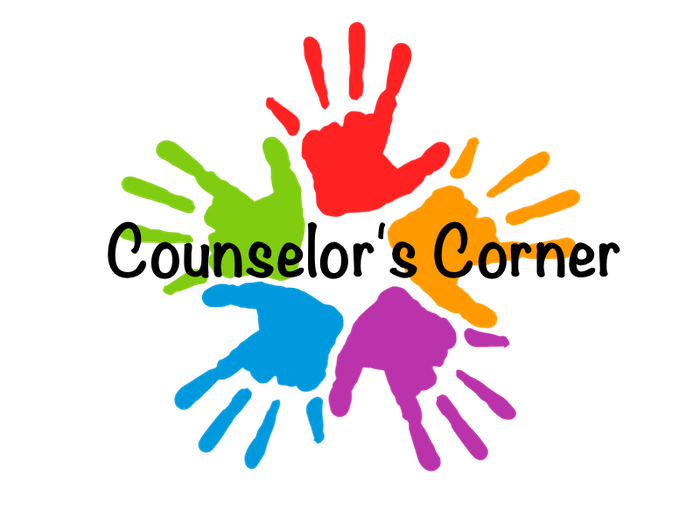5 multiple colored hands with Counselor's Corner in the center.