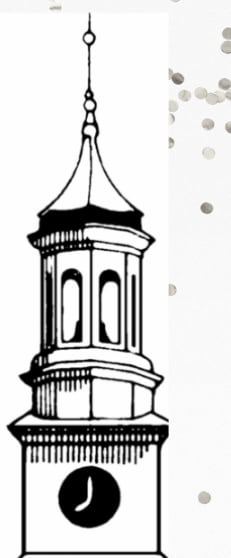 black and white ink drawing of a clock tower with cupola