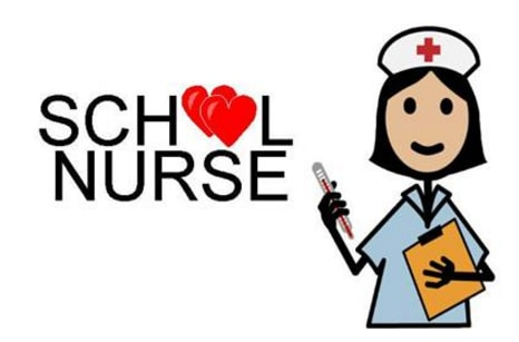Graphic with ''School Nurse'' written with two red hearts where the oo in School should be. To the write is a crawing of a school nurse wearing a white hat with a red cross