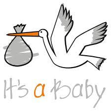 Cartoon of a stork carrying a bundle in its beak with the words, ''It's a baby''  underneath.