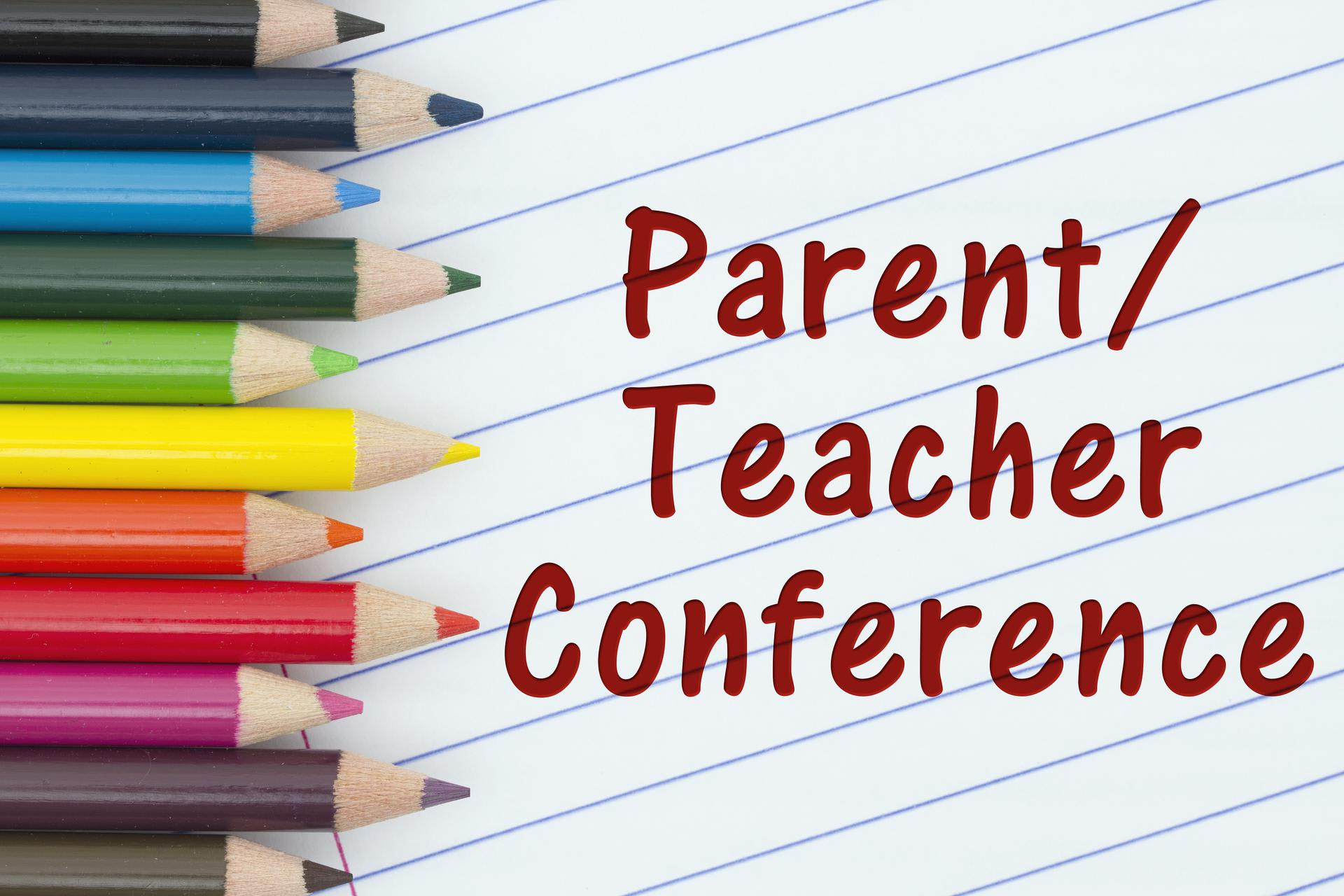 Graphic with pencils stating ''Parent/Teacher Conference''