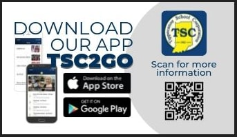 Image showing ''Download our App TSC2Go with the TSC logo in the upper right hand side and a QR Code in the lower right corner. Underneath the title is a picture of a cell phone