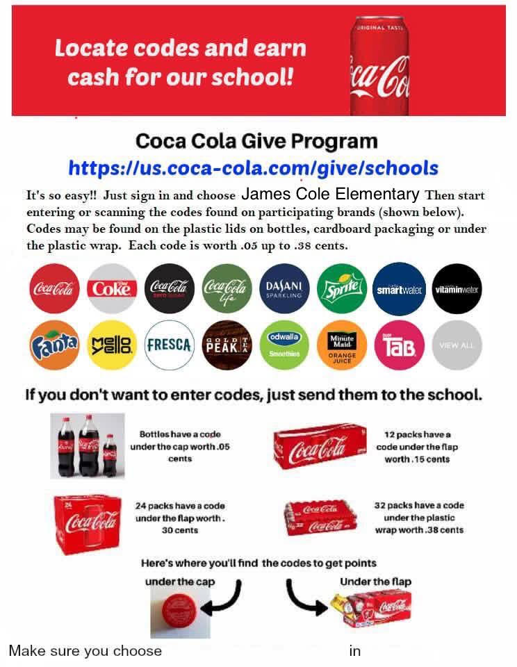 ''Locate codes and earn cash for our school! Coca Cola Give Program https://us.coca-cola.com/give/schools