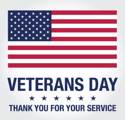 Graphic with American Flag and ''Veterans Day: Thank You For Your Service''