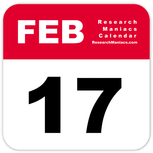 Red and White Calendar page showing February at the top and large 17 as the date.