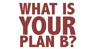 White background with ''What is Your Plan B?'' written in burnt red letters.