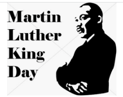 White background. Black lettering ''Martin Luther King Day'' with an image of his standing sideways with arms folded.