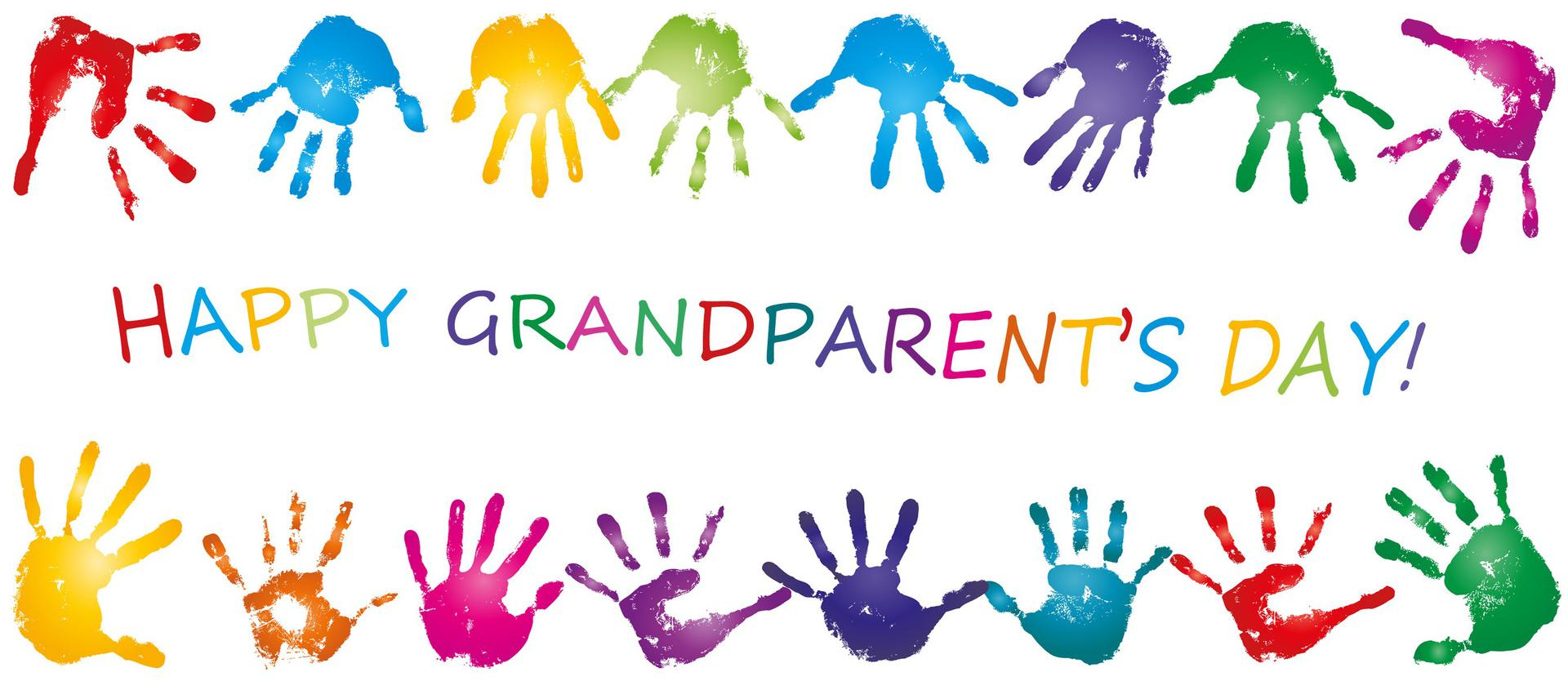 Happy Grandparents Day written with colored hand  prints all around  as a border