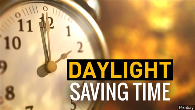 Clock with 2:00 showing on the hour and minute hand with the words ''Daylight Saving Time'' written across the bottom.