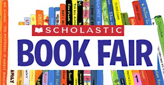 Image of Scholastic Book Fair in  blue with books on top  and bottom.