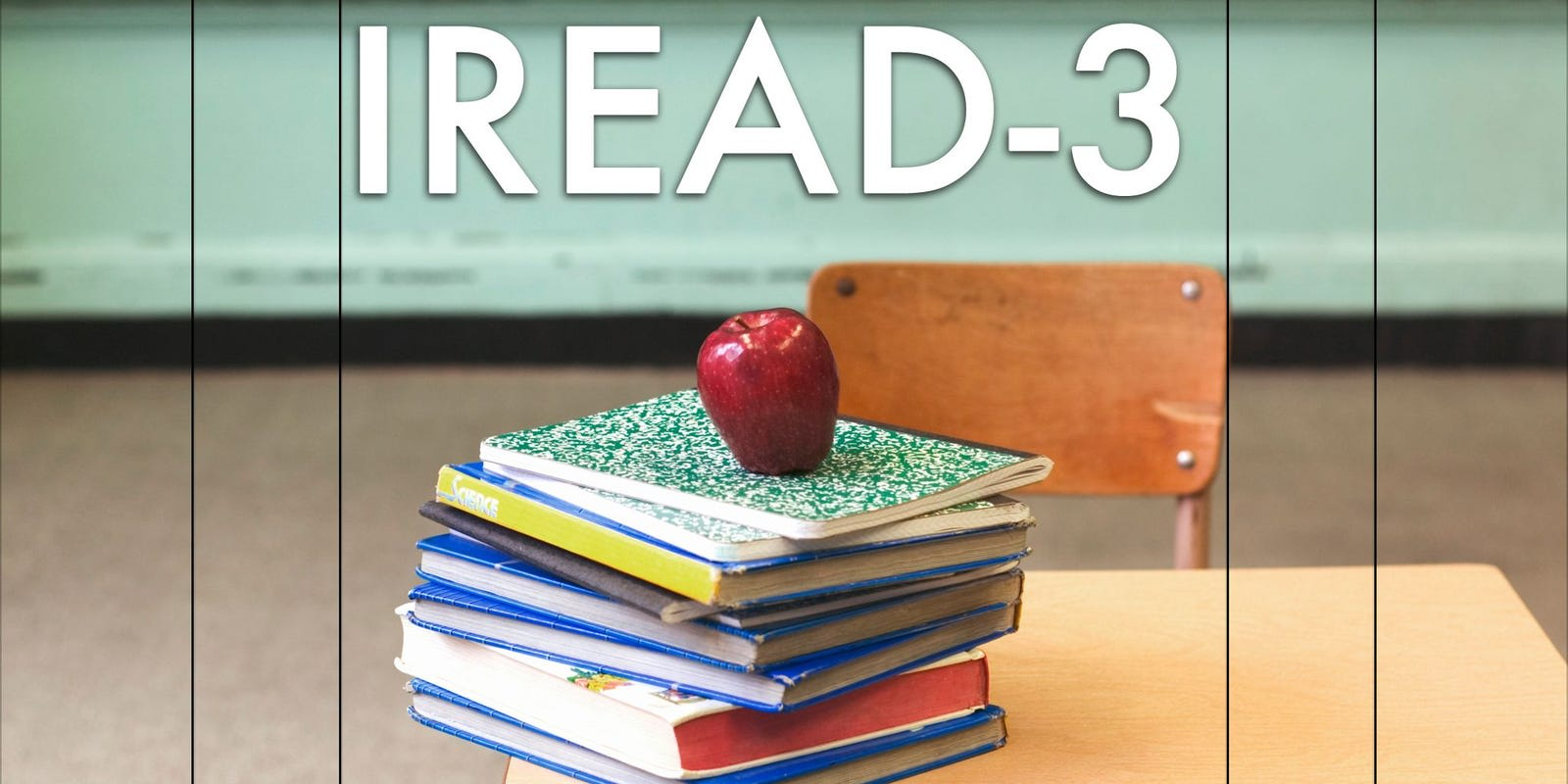 Image of books stacked with apple on top with IREAD-3 written across the top in white.