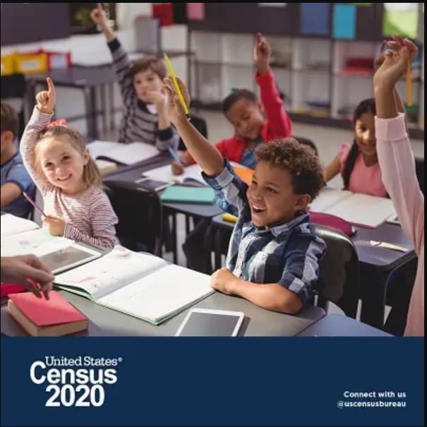 Image that says ''Census 2020'' on bottom with students with hands raised at the top at their desk
