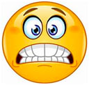 An emoji of a nervous face