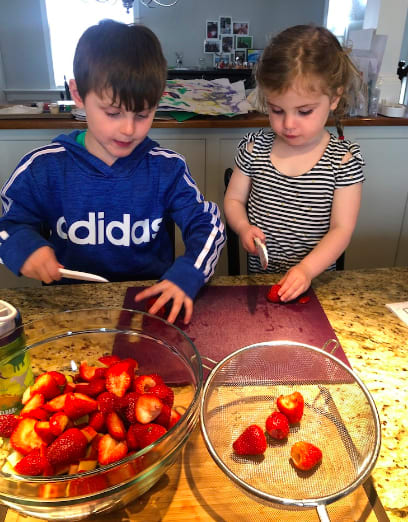 Jackson Rudolph cooking with his sister Hadley