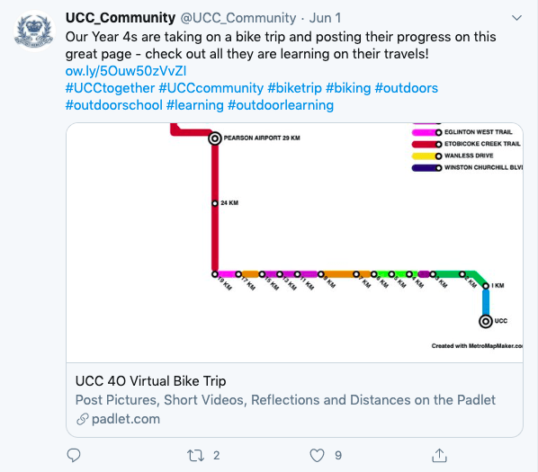 UCC tweets about the Virtual Bike Trip