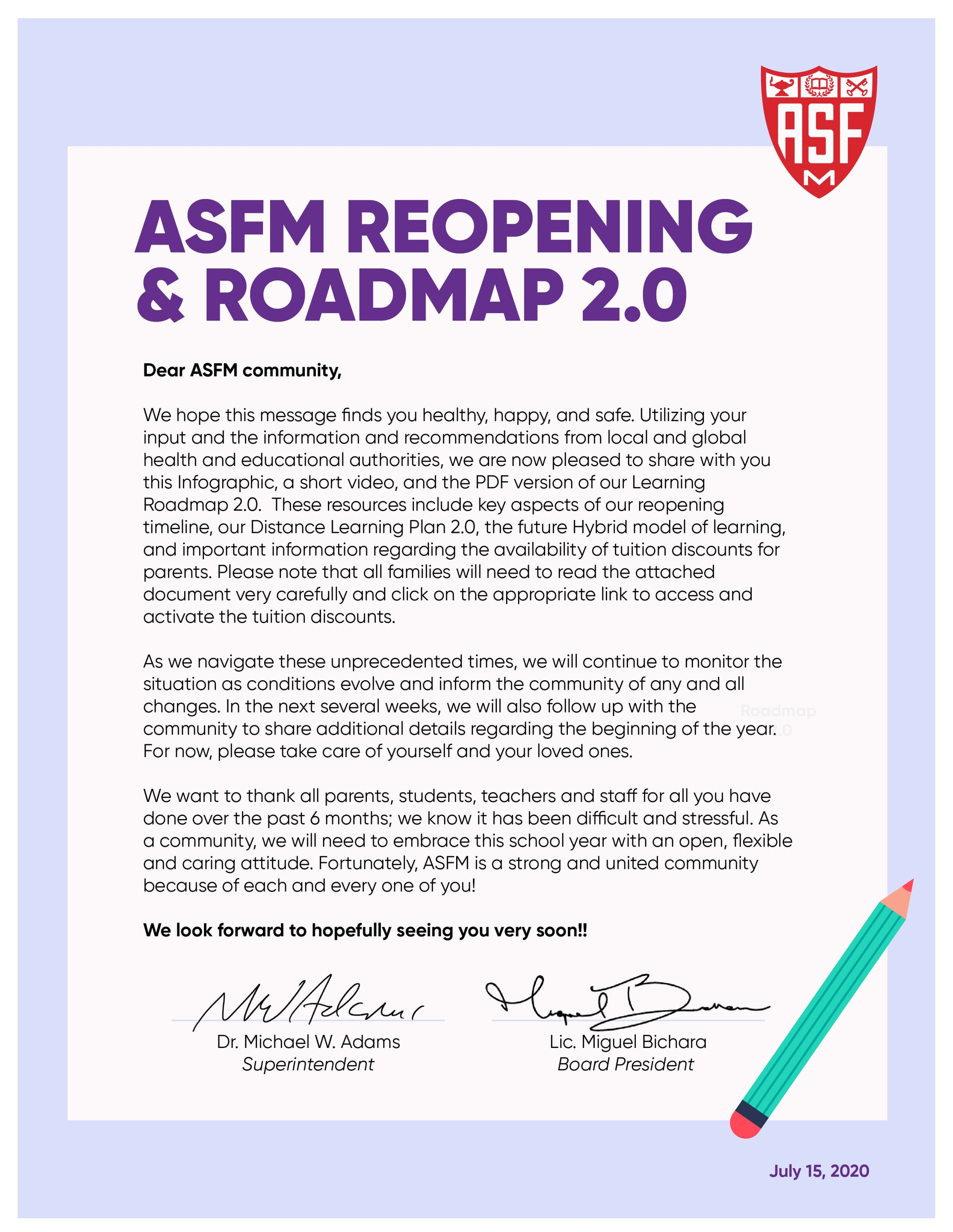 Letter to the ASFM Community
