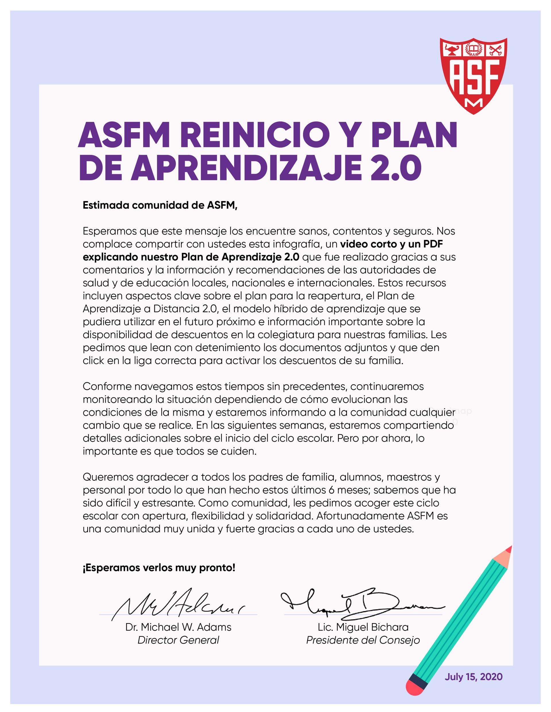 Carta a la comunidad de ASFM