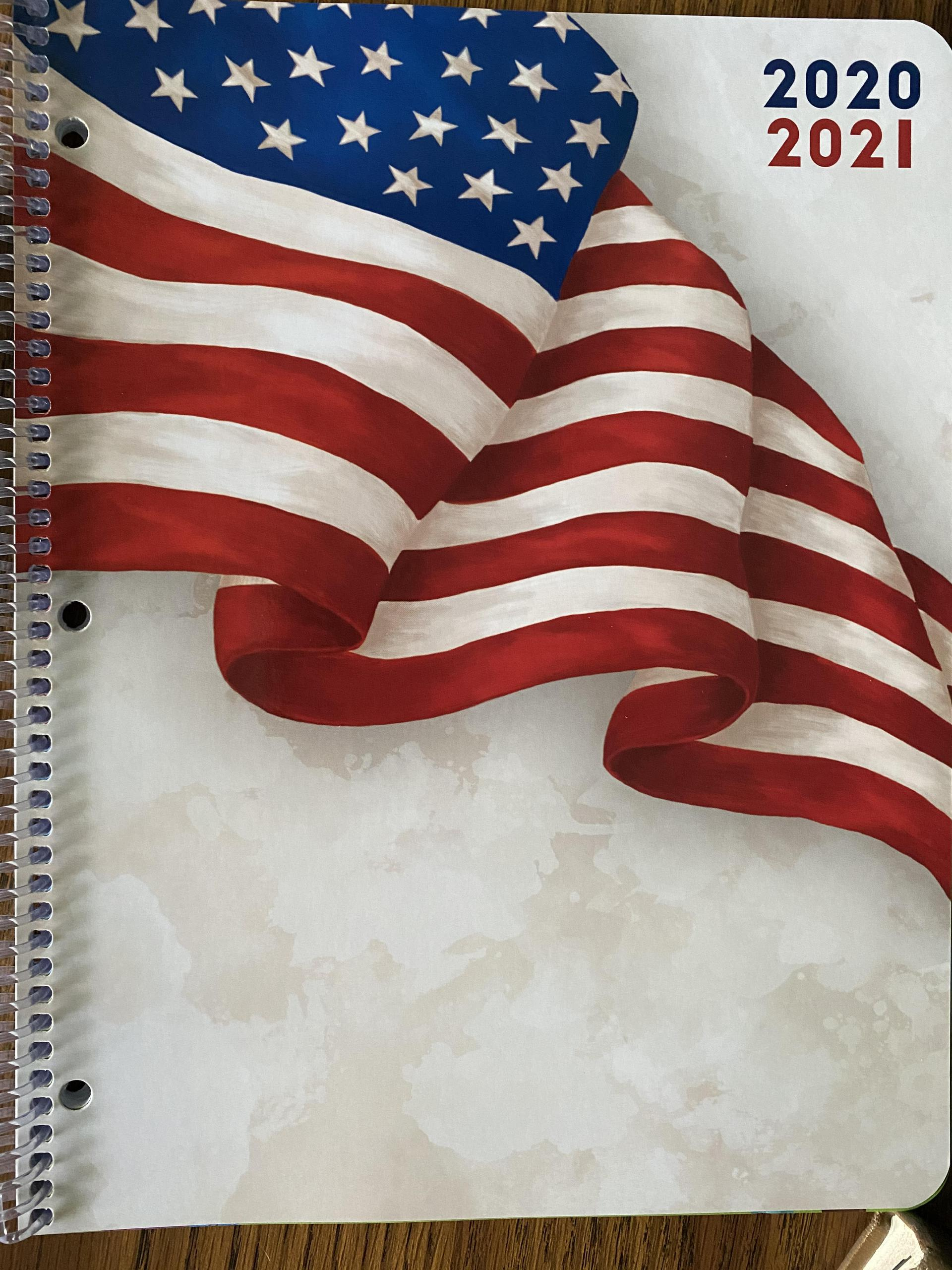 Picture of the cover of a Study Buddy with an American flag 2020-2021