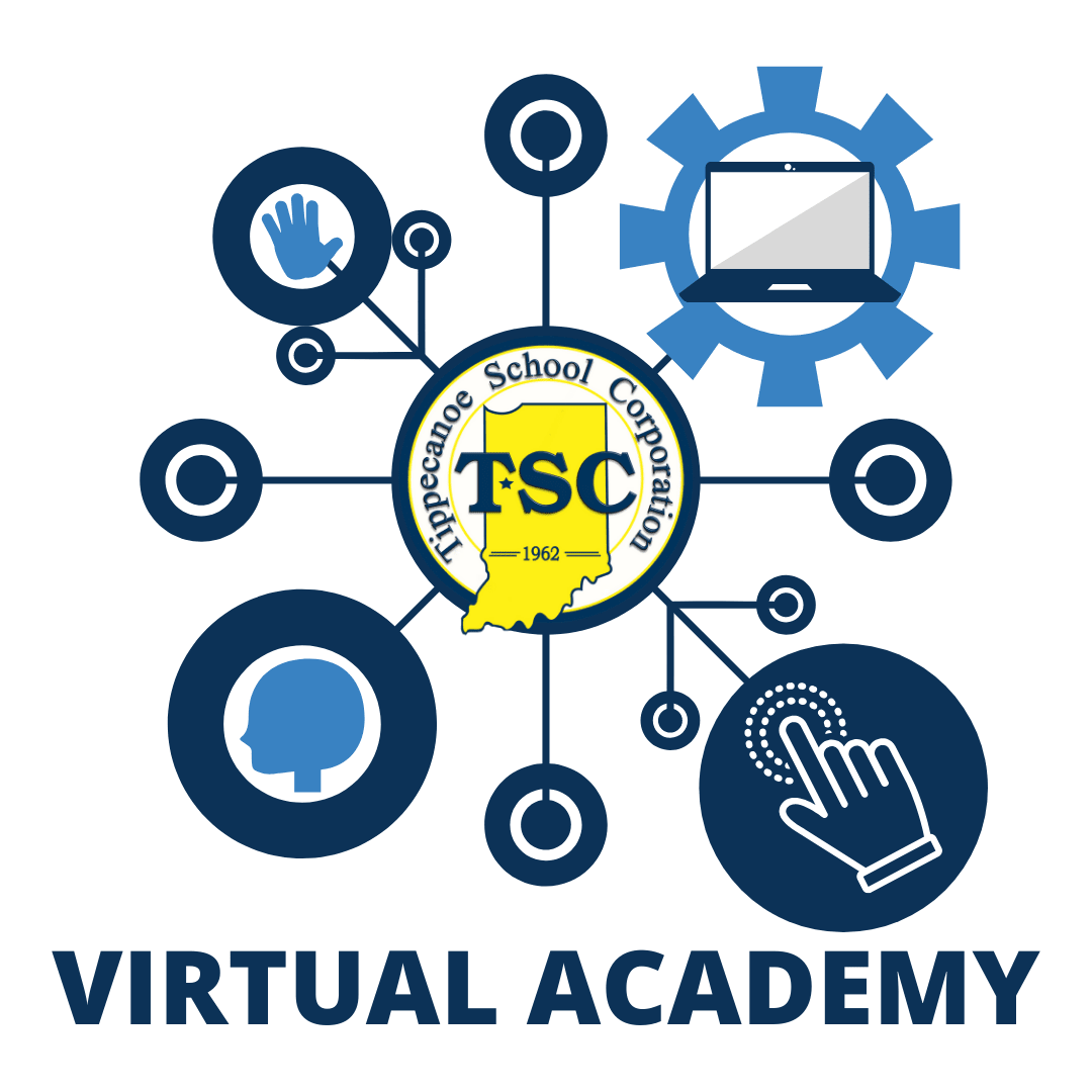 Graphic with TSC Logo in the center and different lines with circles with different technology graphics like a computer screen in circles in blue. White background.