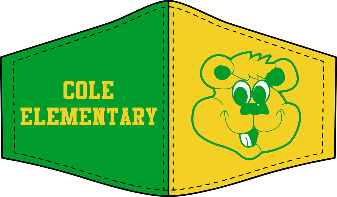 Graphic of Cole Face mask (Green on left facing you with ''Cole Elementary'' written in yellow and Yellow on the right with Cole Cub graphic in green.