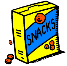 Graphic with a yellow box with the words ''Snacks'' written in blue