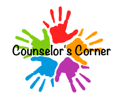 Counselor's Corner with five hand in different colors: red, orange, purple, blue, and green