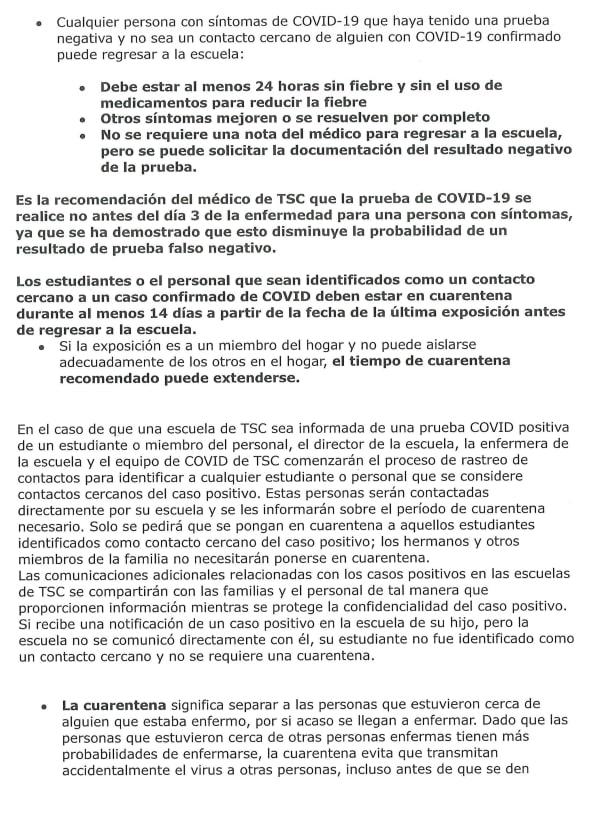 TSC COVID GUIDELINES spanish