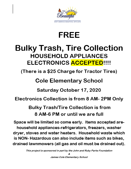 Poster of Bulky Trash October 17, 2020 at James Cole Elementary from 8 am - 6 pm