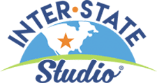 Logo for  Interstate Studio. The northern hemisphere with North America in white with a star near Indiana