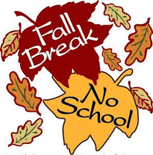 Graphic of red and yellow leaves with ''Fall Break'' and ''No School'' printed over them.