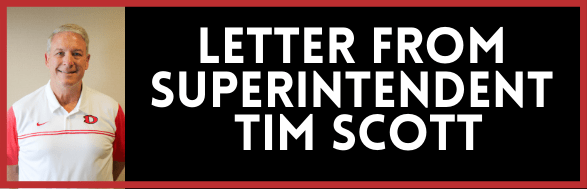 Graphic that says Letter from Superintendent Tim Scott