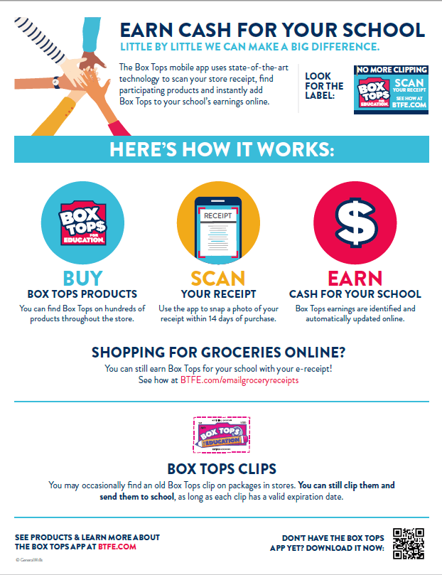 Earn Cash for your school: Box Tops for Kids Scanning instrucitons.