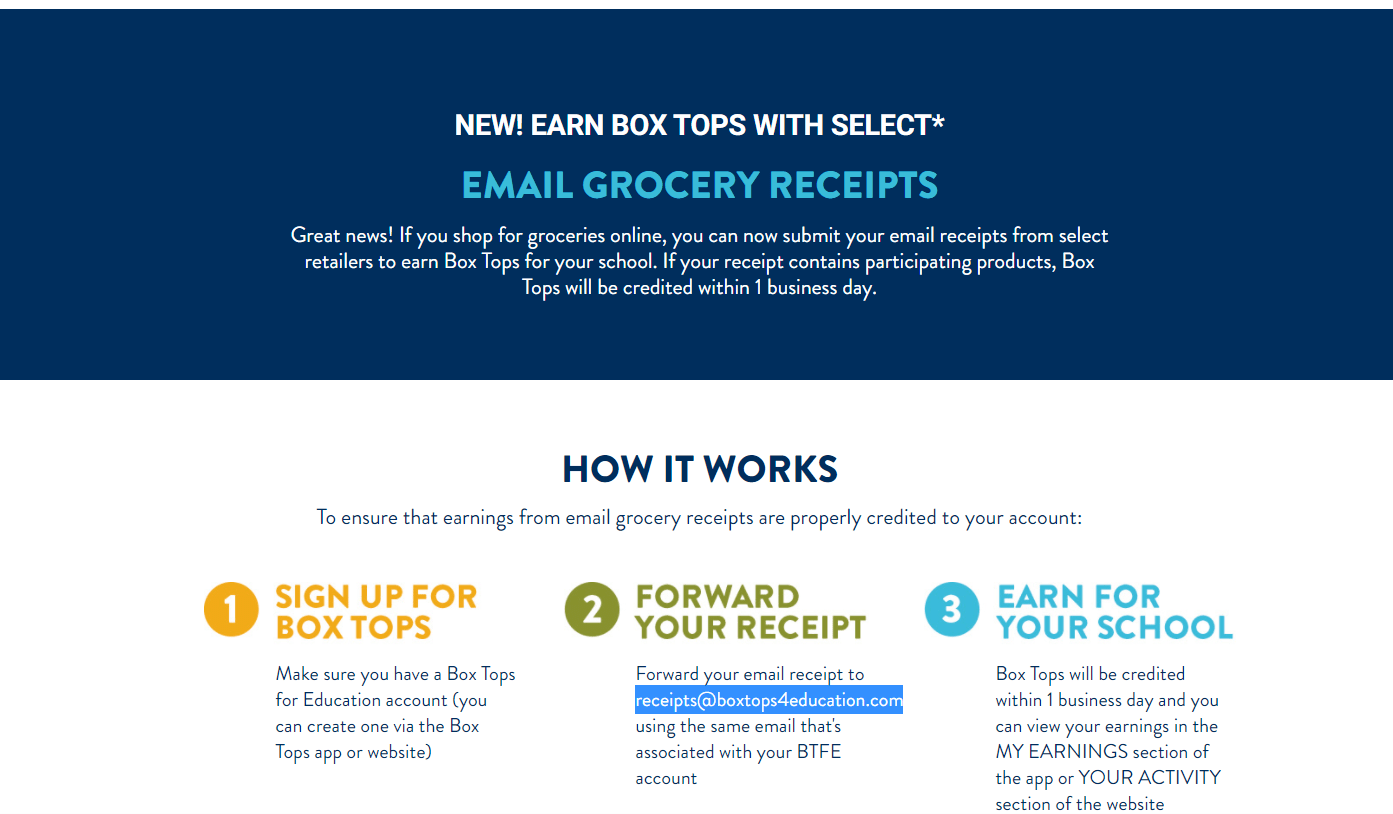 Box Tops Email Grocery Receipts instructions.