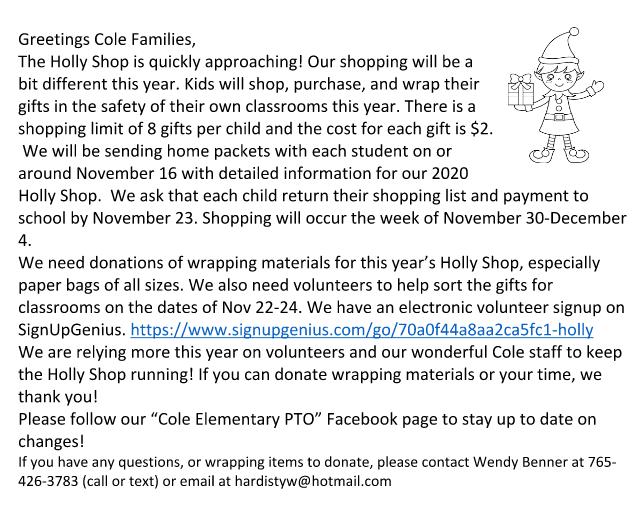 Holly Shop Parent Preview Letter