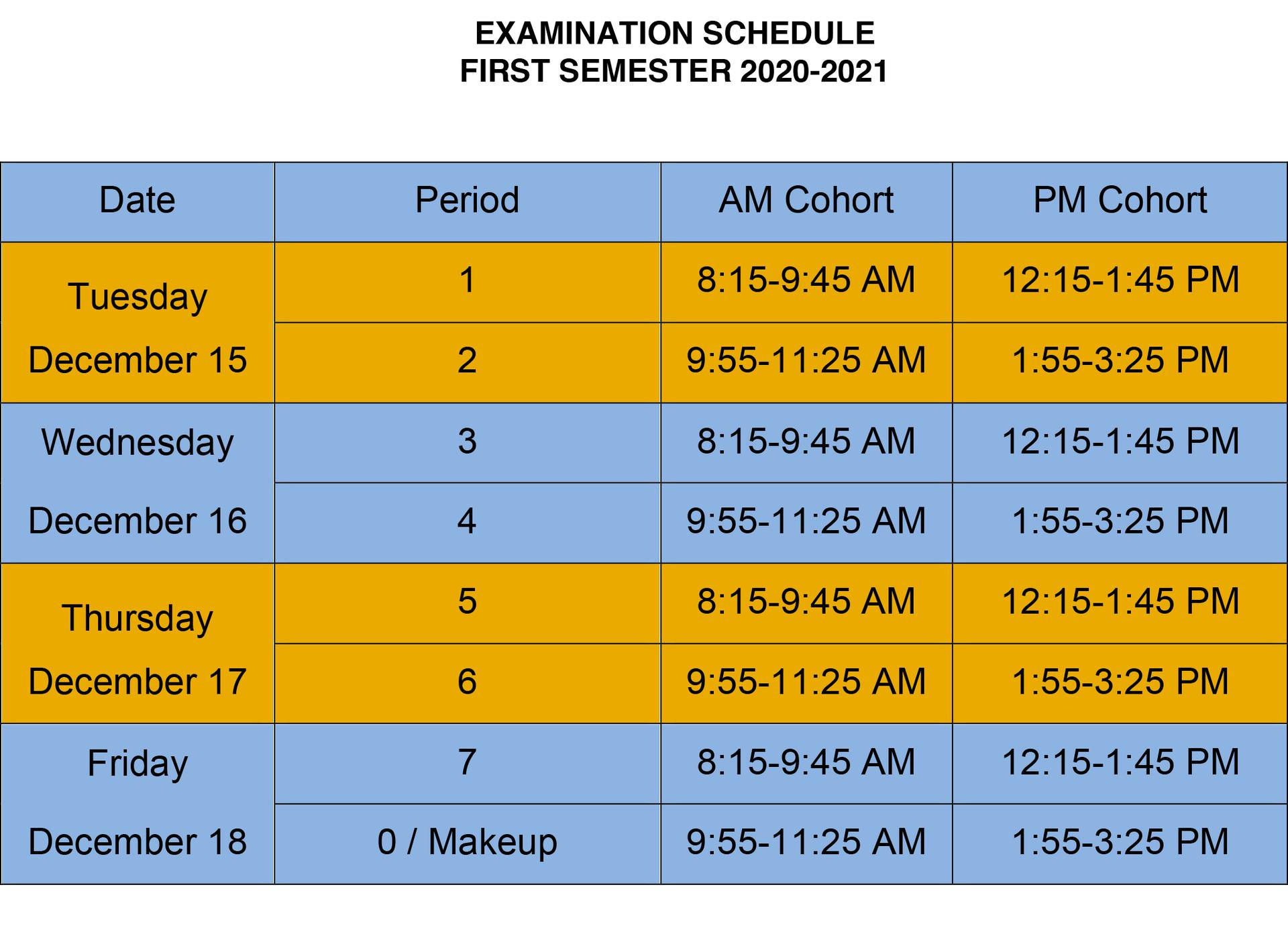 OHS Exam Schedule 2020-2021