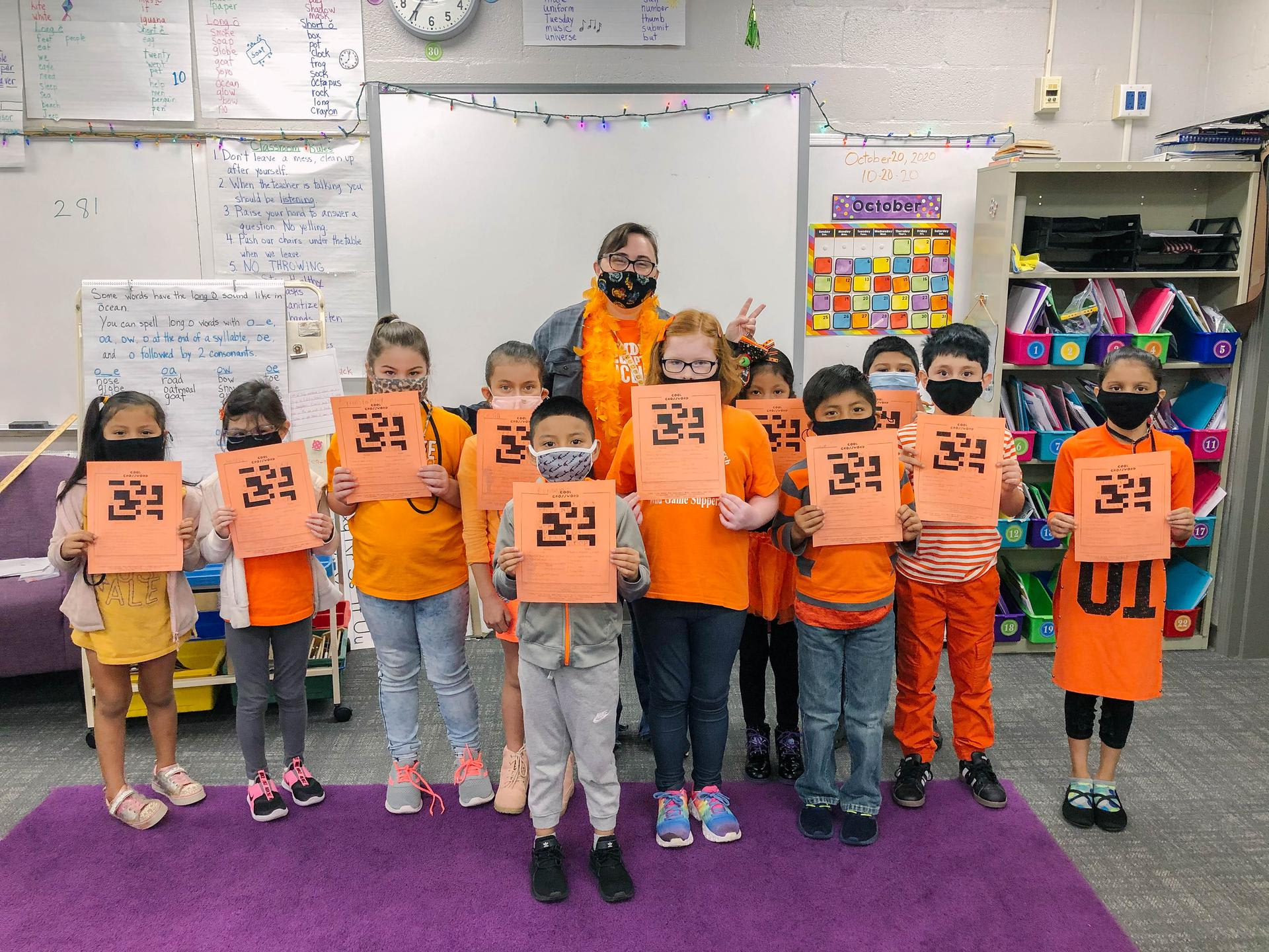 Class wearing orange for unity day
