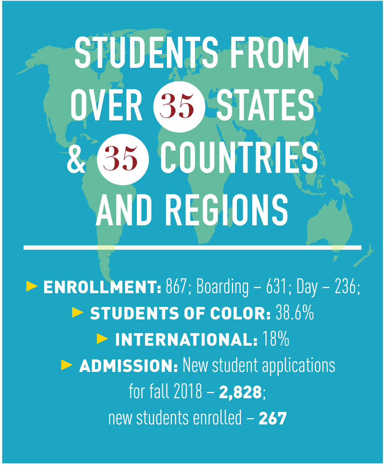 Students from over 38 states and 46 countries and regions